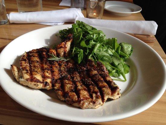 Maialina Pizzeria Napoletana: Paleo delight - fire roasted chicken with Rosemary and arugula salad with evoo.