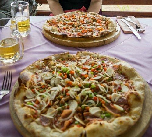 Juzza Pizza: Pizza for lunch (bottom juzza special, top quattro)