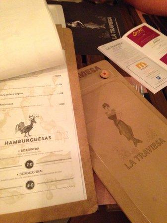 La Traviesa: Original carta restaurante. C_fortea