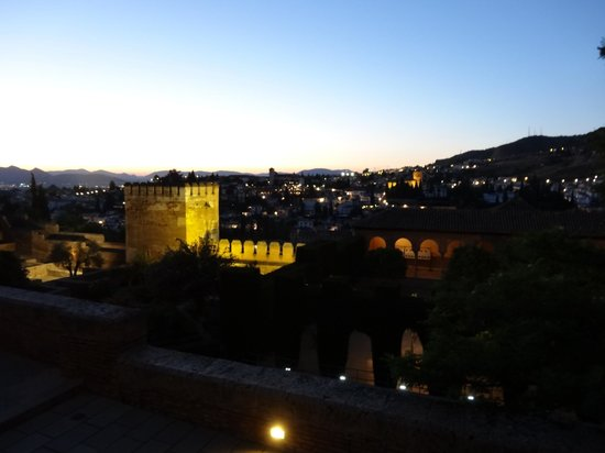 Hotel America: View from the Alhambra complex at night