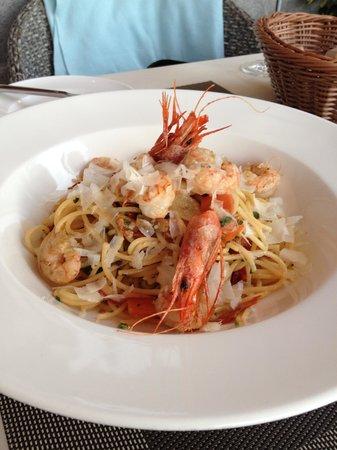 Restaurante Es Passeig: spaghetti with prawns