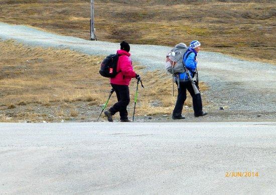 Spitsbergen Hotel: I byen er det ikke vanlig med gevær,men skal du på tur så er det påbutt.