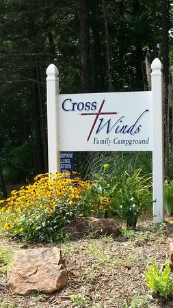"""Cross Winds Family Campground : Sign at entrance.  Exit 84 off Hwy 85, not """"business 29-70"""""""