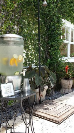 Kimpton Angler's Hotel: Refreshments and outdoor shower poolside