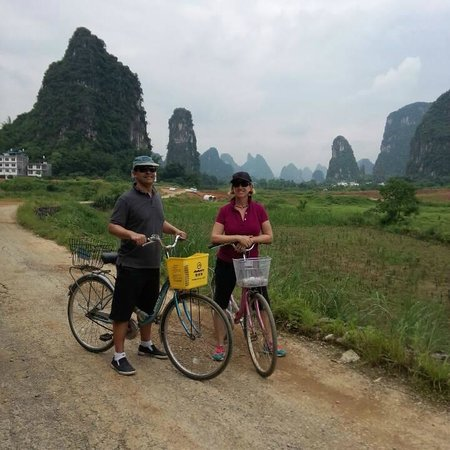 Yangshuo Private Tour-Day Tour: Nancy and Brad Cycling at Yangshuo.