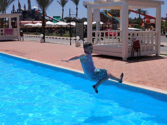 Aqua Blu Sharm: My son enjoying the new pool on our first day :)
