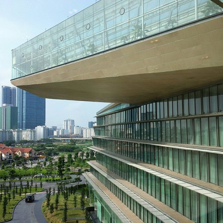 JW Marriott Hotel Hanoi: The horseshoe shaped design hotel with the top level being the indoor pool.