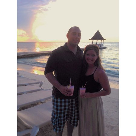 Sandals Montego Bay: My husband and I walking to dinner
