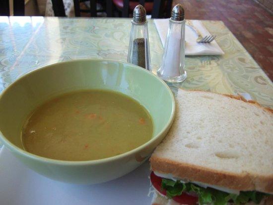 Birkholm's Bakery & Cafe : Turkey sourdough sandwich with sweet pea soup