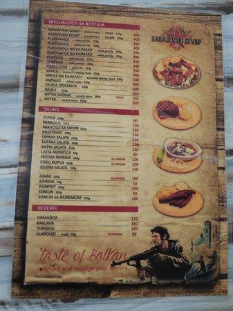 le menu avec la touche humoristique picture of walter sarajevski