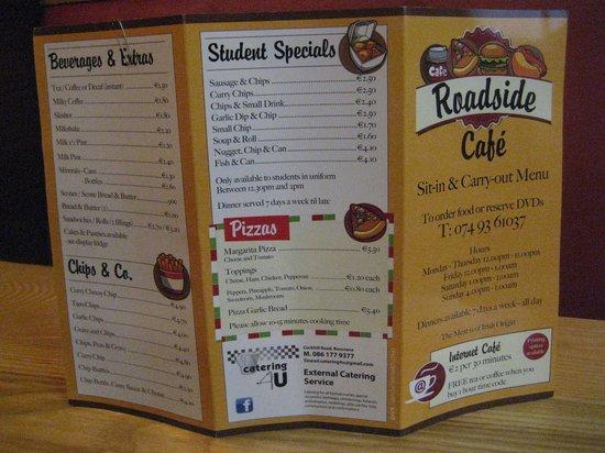 Roadside Cafe: The menu