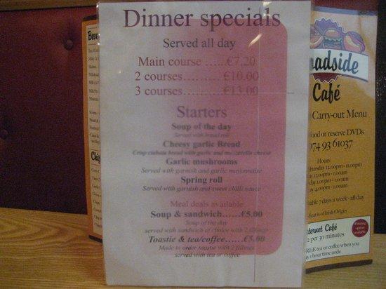 Roadside Cafe: Dinner specials