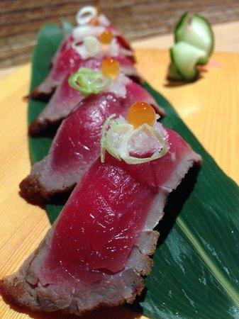 Wasabi Sabi: Half cooked beef sushi... Yami