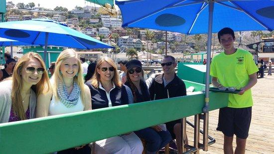 Taste of Catalina Food Tours : Enjoying Grilled Mahi Mahi at Avalon Seafood on Green Pleasure Pier.