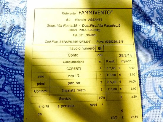 Fammivento : Both a cover charge AND a service charge!