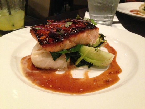 sesame soy-lacquered salmon with crispy steamed rice, baby bok choy @ Moonstones, Chelmsford, MA