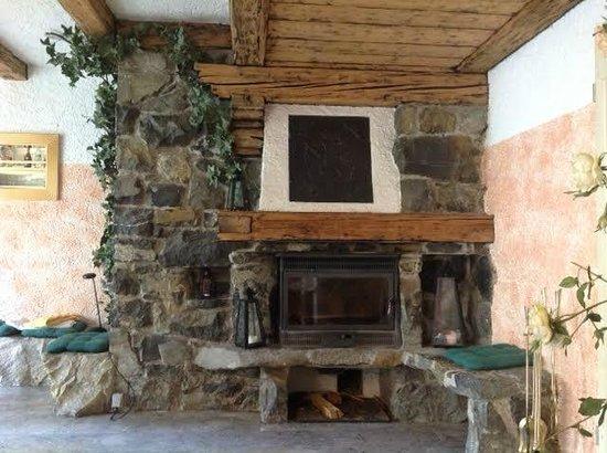 Hotel Alpenhof: Fireplace in the bar area