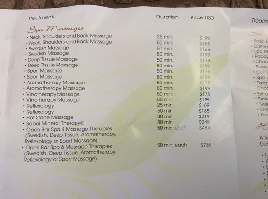 Imperial Hotel Spa Price List