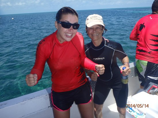 Belize Pro Dive Center: Beth and I celebrating achieving my certification
