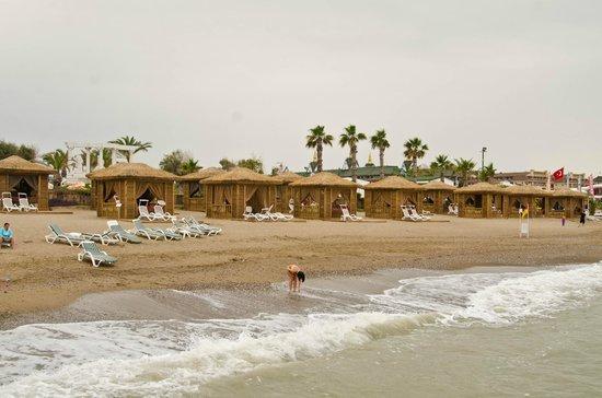 Alva Donna Exclusive Hotel & Spa: На пляже можно отдыхать вот в таких бунгало, естественно платно