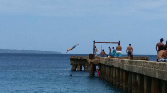 Crashboat Beach: This is me jumping from the bridge.