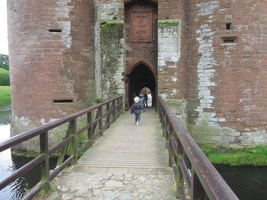 Caerlaverock Castle: running across the drawbridge
