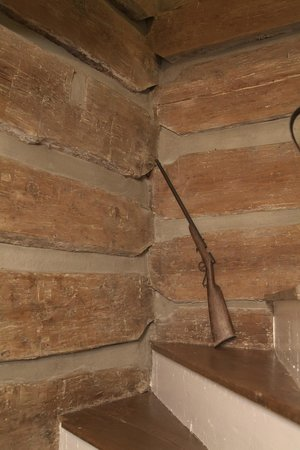 The Rockford Inn Bed and Breakfast : Log walls of interior staircase