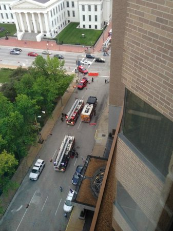 Hyatt Regency St. Louis at The Arch: Firetrucks pulling up to hotel