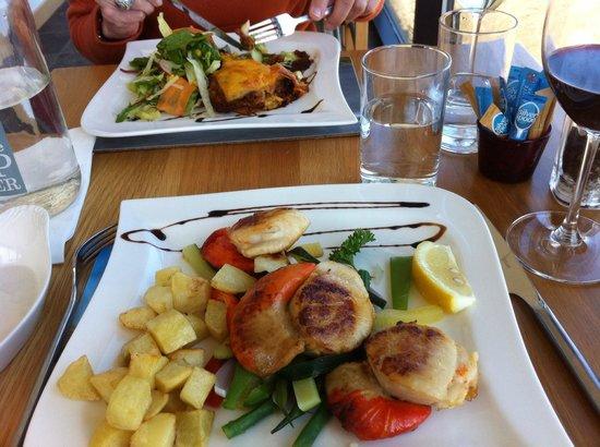 Skerries Bistro: Massive scallops and Orkney beef lasagne