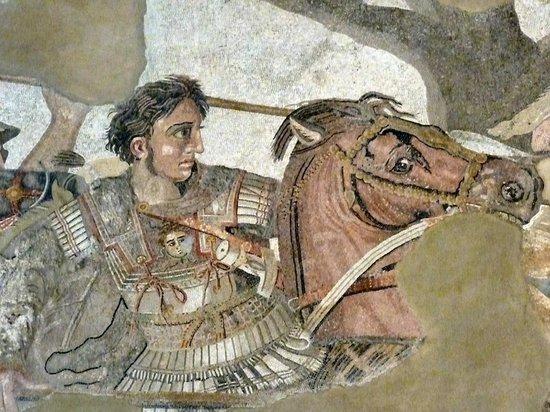 Musée archéologique national de Naples : Portion of the damaged mosaic depicting Alexander the Great