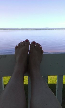 Golden Lake, Canada: View from our balcony (and my pedicure)
