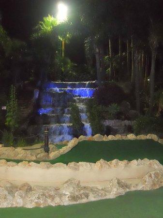 Golf Fantasia: waterfall at nlght