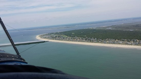Suncoast Aviation Biplane Rides: Nice view of Bald Head Island where you can see some sharks!