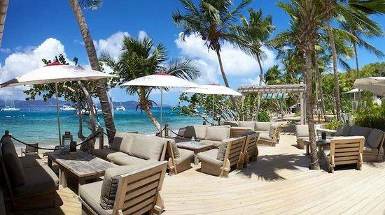 Cooper Island Beach Club Restaurant: Outdoor sofas on main bar deck
