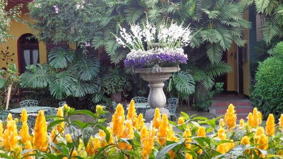 Hotel Casa Antigua: fountain decorated with flowers