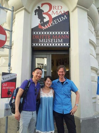 The Third Man Museum: Us with the museum creator and owner Gerhard after the visit. Glad to have made his day :-)