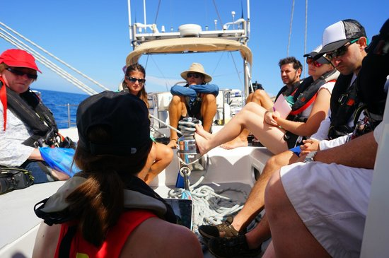 Pangaea Explorations: On-deck discussion during Feb 2014 Exploring Mindset voyage in the Caribbean