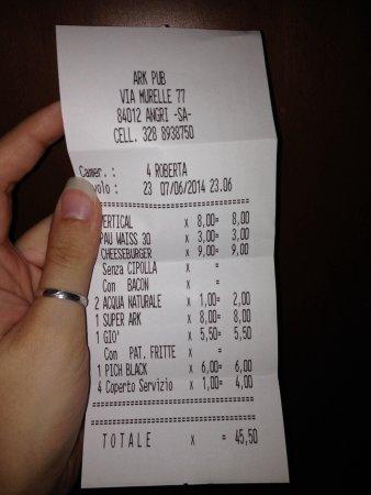 Angri, Italie : scontrino prezzi nella media :)