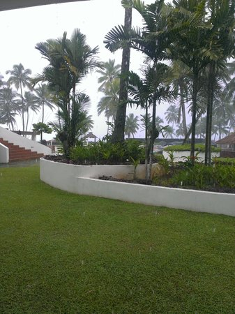 The Pearl Resort: this is the view from our ground floor ocean view room. it was pooring with rain.