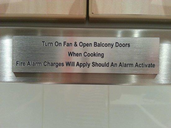 The York by Swiss-Belhotel: Sign on exhaust fan in kitchen