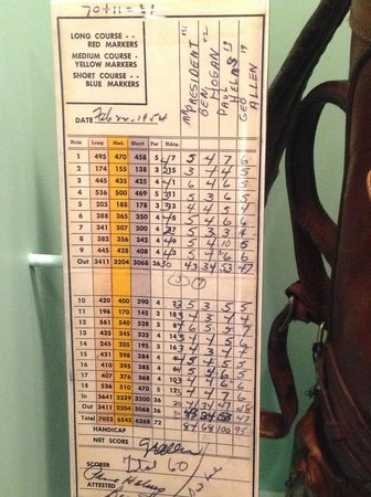 Dwight D. Eisenhower Library and Museum : Dwight Eisenhower Musem - Golf Scorecard from Augusta National