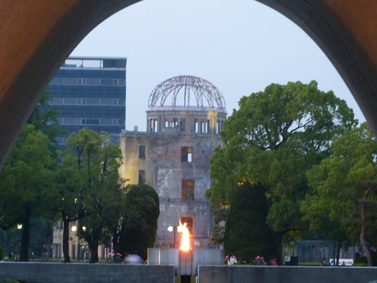 Hiroshima Peace Memorial Park : Atomic Bomb Dome and Flame from Cenotaph at the Peace Park
