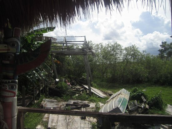 Miccosukee Indian Village : Remains of Miccosukee hut in Everglades