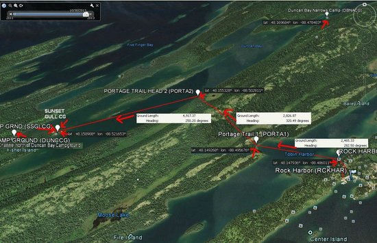 Rock Harbor: Trip route with coordinates