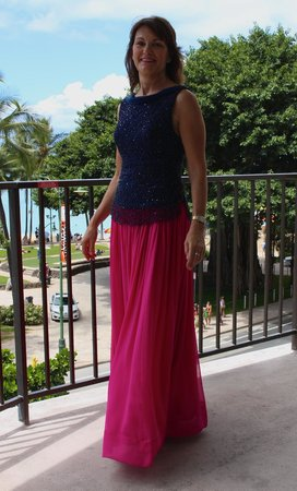 Aston Waikiki Circle Hotel: On my balcony about to go to dinner with my friends to La Mer at the Halekalani Resort
