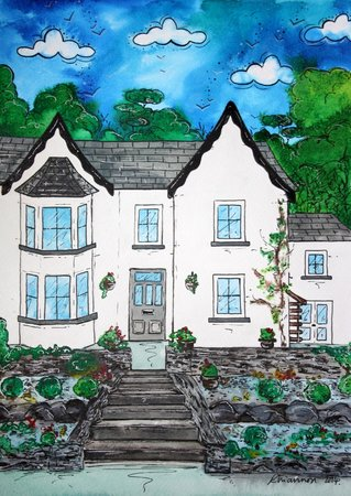 A painting of Llety Betws by one of our guests, Rhiannon Roberts