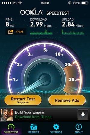 Ibis Singapore on Bencoolen: WiFi Speedtest 3:35pm