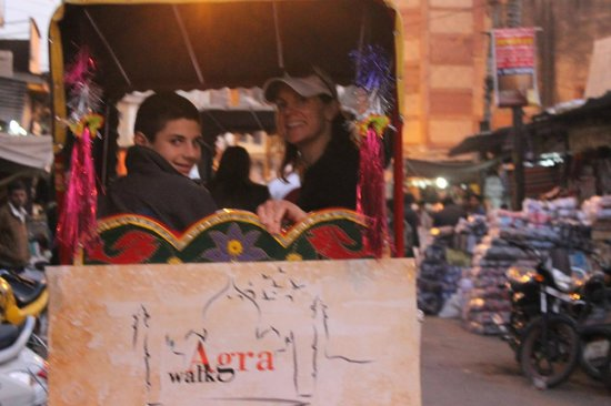 Agra Walks : Smiles in the AW branded cycle rickshaws!