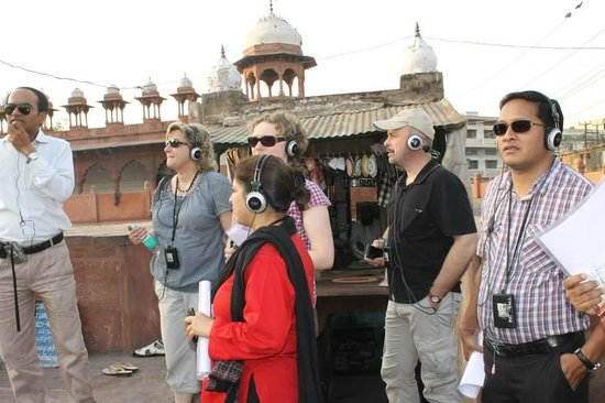 Agra Walks : Guests with our Group Tour Systems, to cut the noise and to make sure each guest has a good time