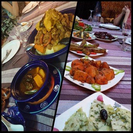 Riad Maryam Restaurant: Le couscous et un aperçu des salades
